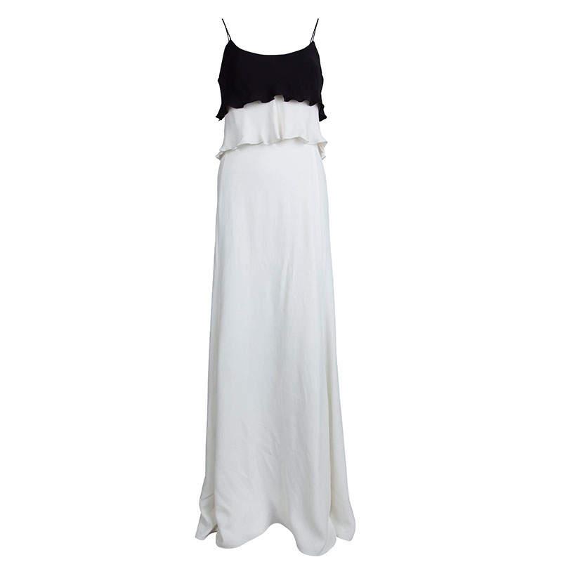 Emporio Armani Elite Monochrome Overlay Flared Gown S