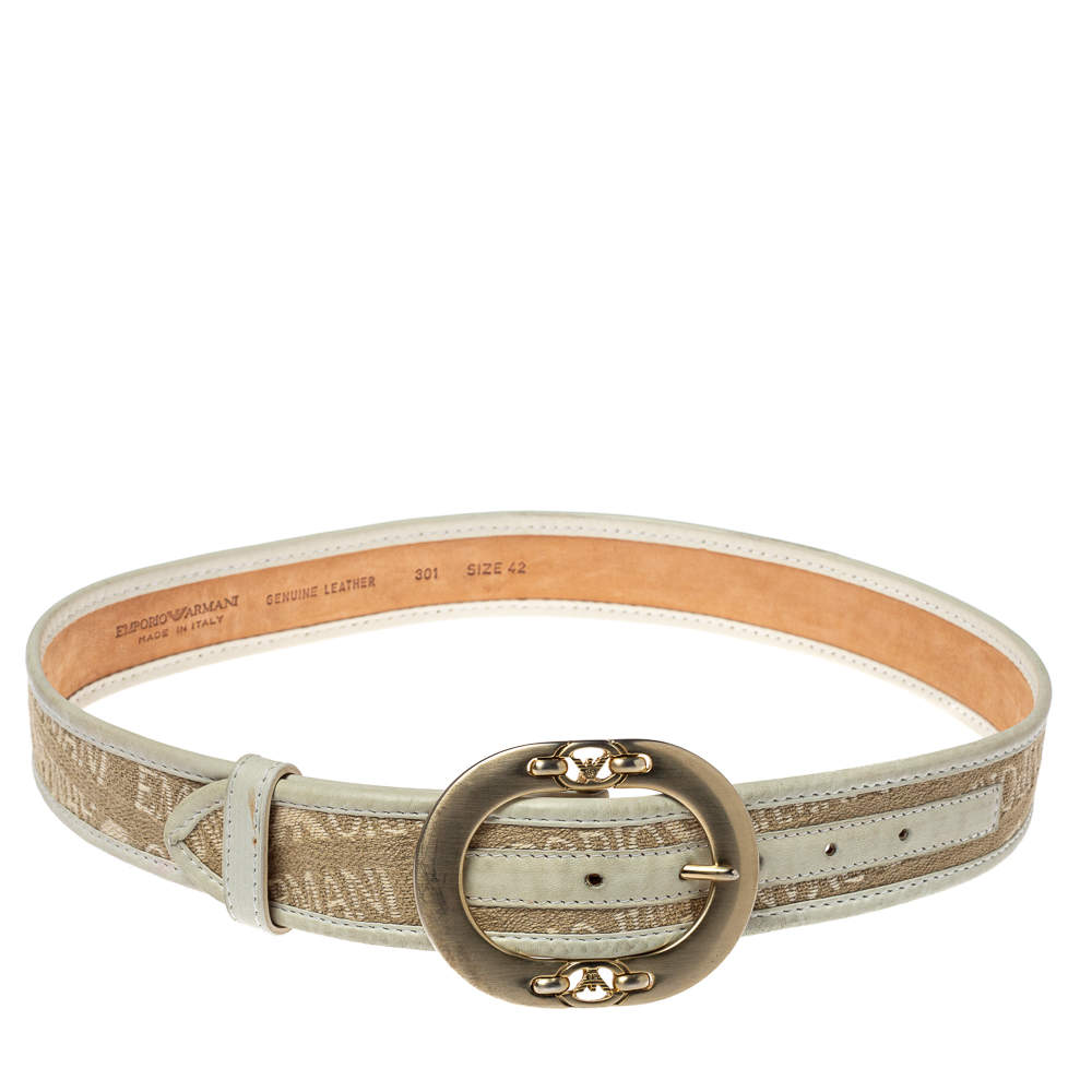 Emporio Armani Beige/Light Green Canvas and Leather Trim Logo Buckle Belt 85CM