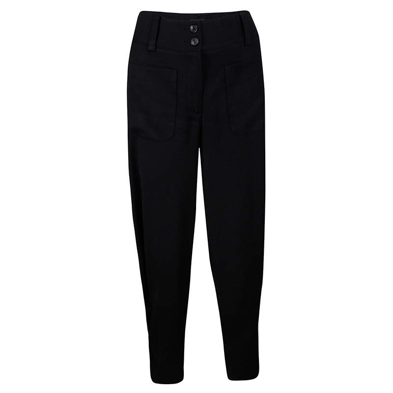 Emporio Armani Black Buckle Detail Trousers S