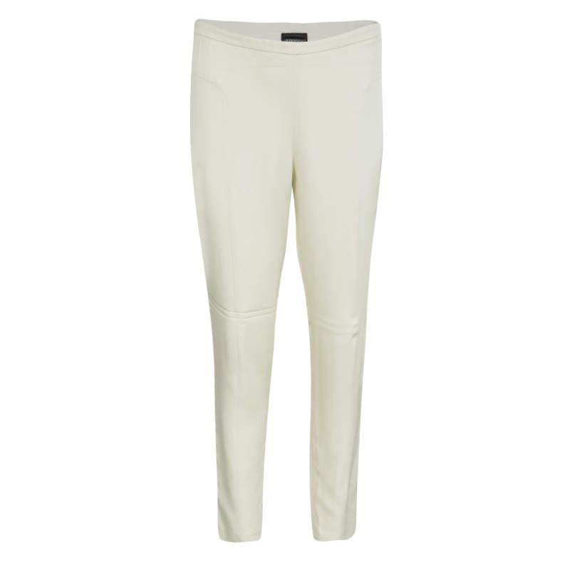 Emporio Armani Cream High Waist Straight Leg Trousers L