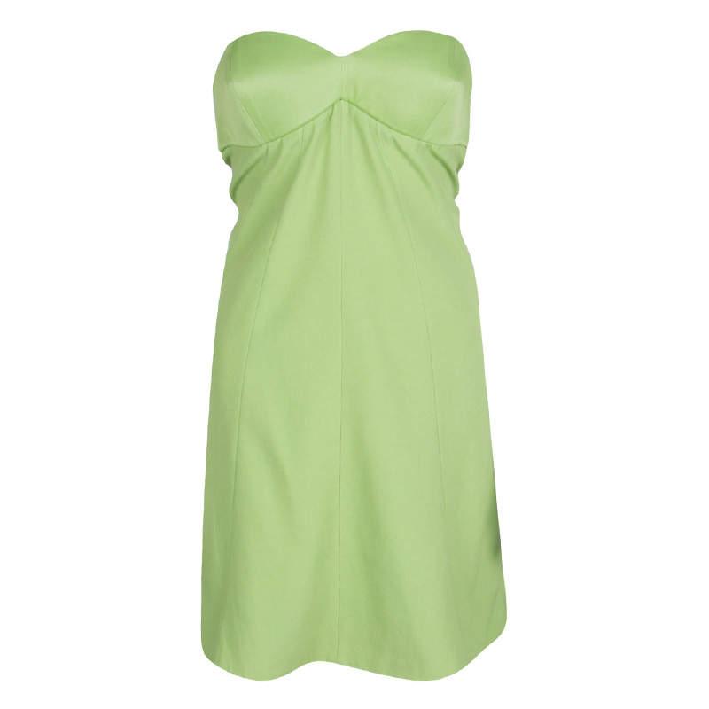 Emporio Armani Green Strapless Dress M