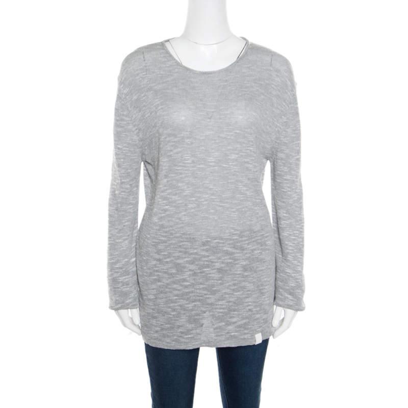 Emporio Armani Grey and White Knit Crew Neck Sweater XL