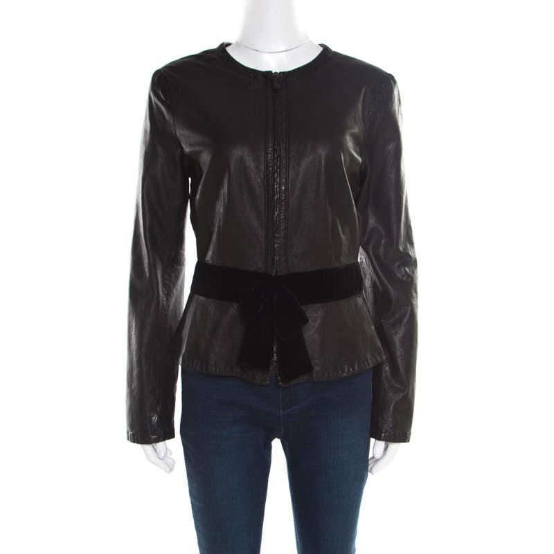 Emporio Armani Black Leather Velvet Bow Detail Biker Jacket M