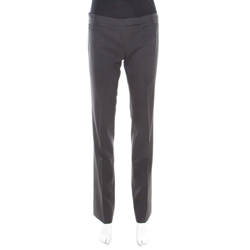 Emporio Armani Grey Wool Linea Tailored Trousers M