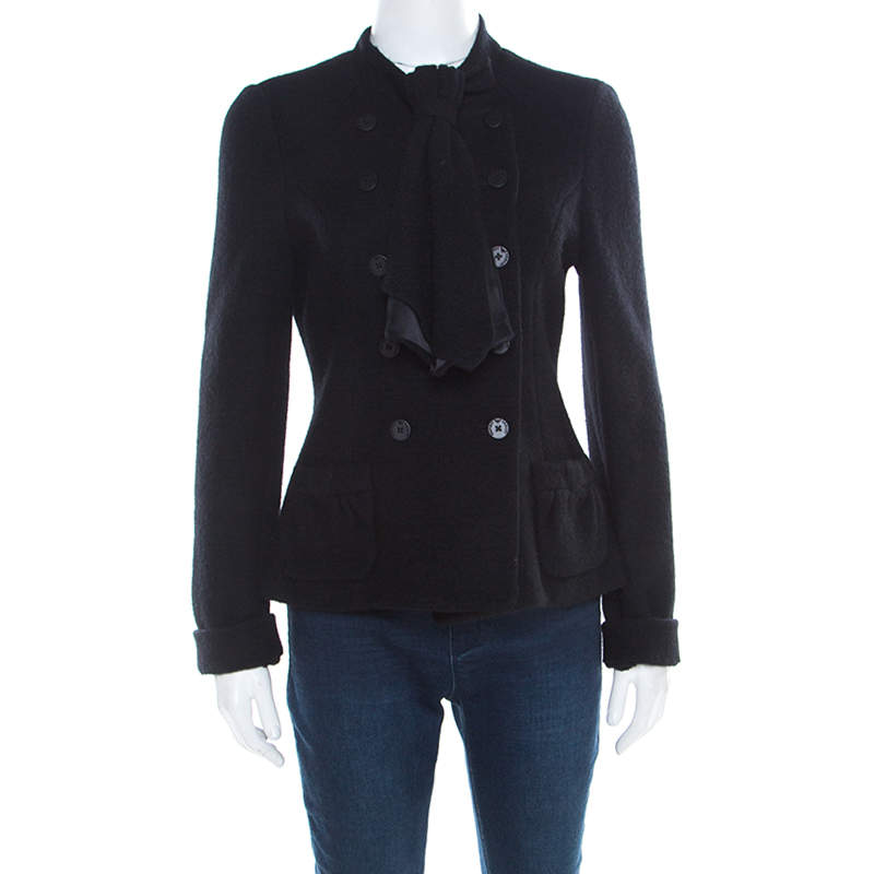 Emporio Armani Black Felted Wool Bow Detail Double Breasted Short Coat M
