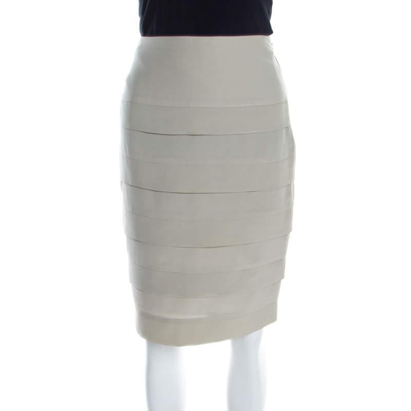 Emporio Armani Sage Green Silk Pleated Pencil Skirt S