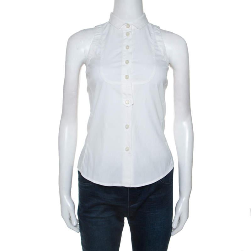 Emporio Armani White Cotton Blend Sleevless Button Front Top S