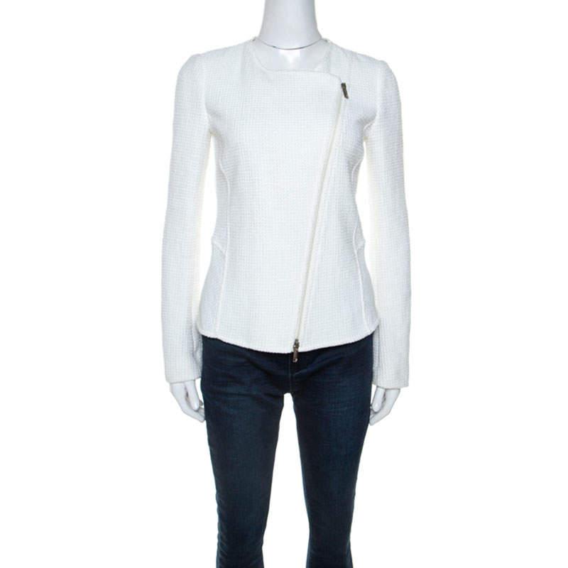 Emporio Armani White Waffle Knit Asymmetric Zip Front Blazer M