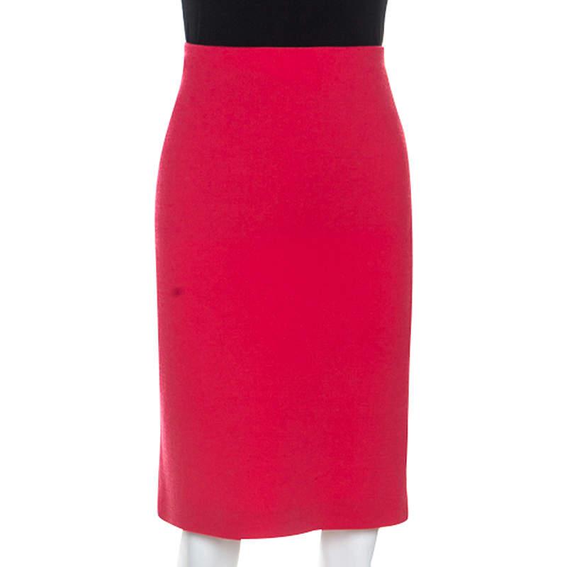 Emporio Armani Red Wool Knee Length Skirt M