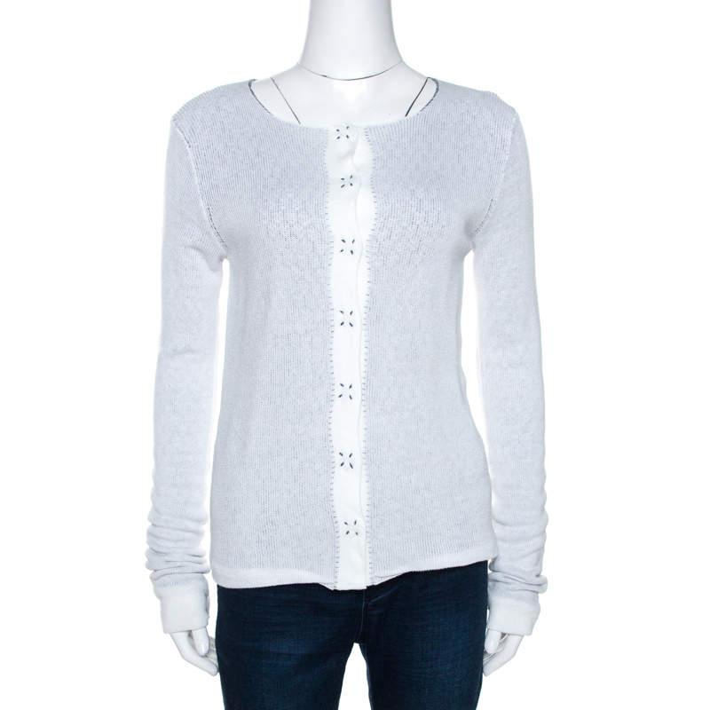 Emporio Armani White Knit Button Front Cardigan S