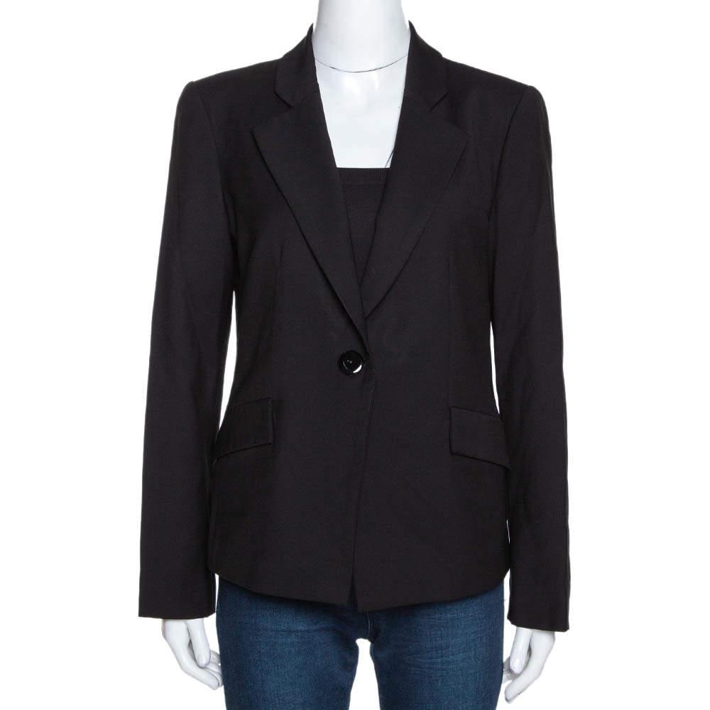 Emporio Armani Black Wool Single Buttoned Jacket M