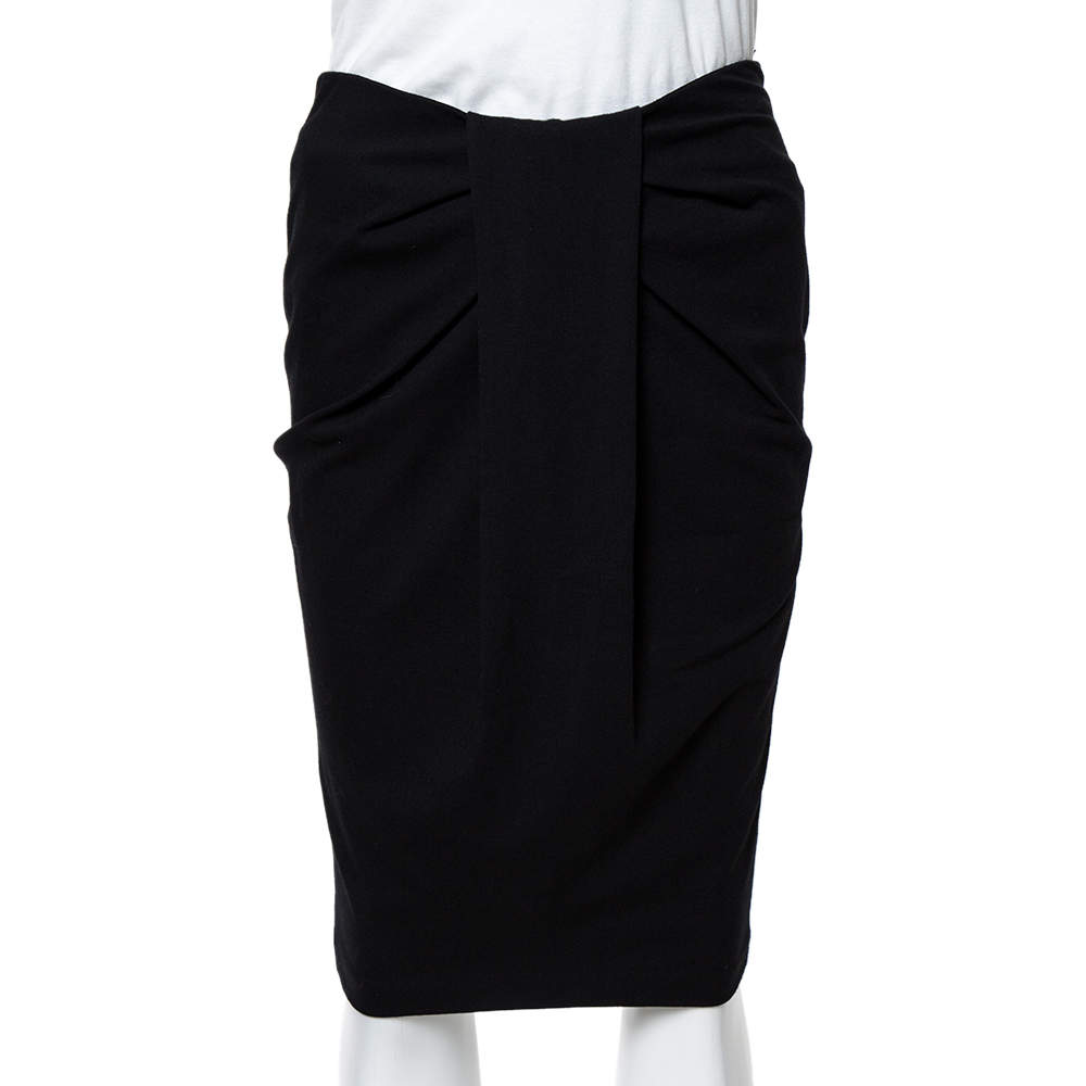 Emporio Armani Black Jersey Pleat Front Pencil Skirt S