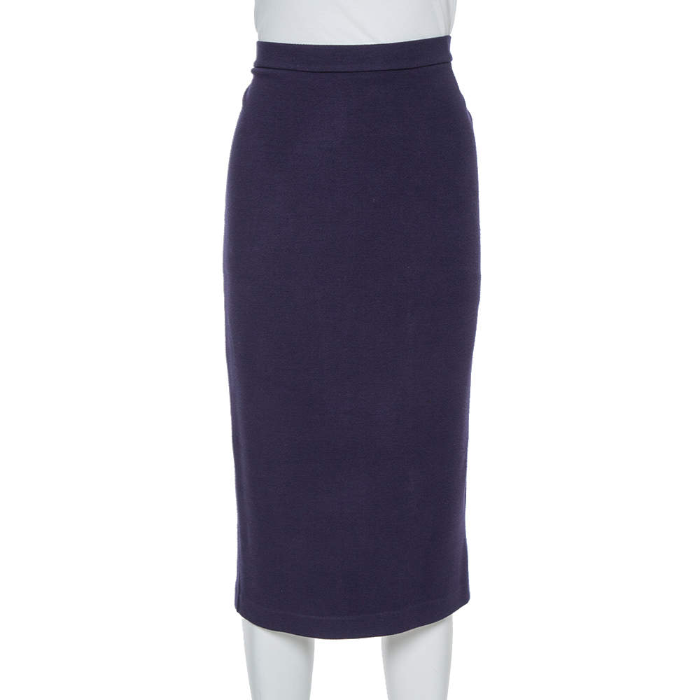 Emporio Armani Navy Blue Knit Pencil Skirt M