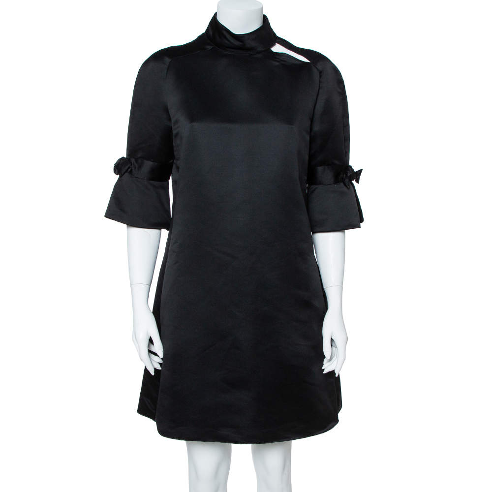 Emporio Armani Black Silk Blend Mock Neck Bow Sleeve Detail Midi Dress L