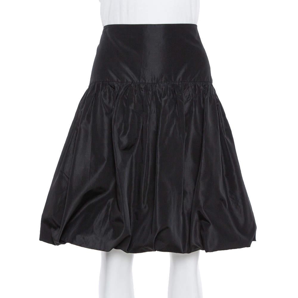 Emporio Armani Black Taffeta Gathered Short Skirt L