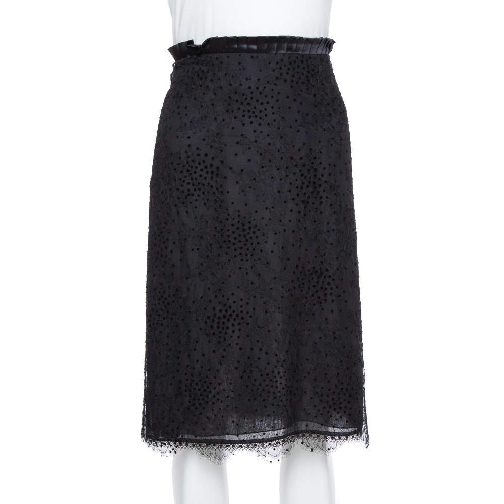 Emporio Armani Black Pleated Waist Detail & Floral Lace Short Skirt M