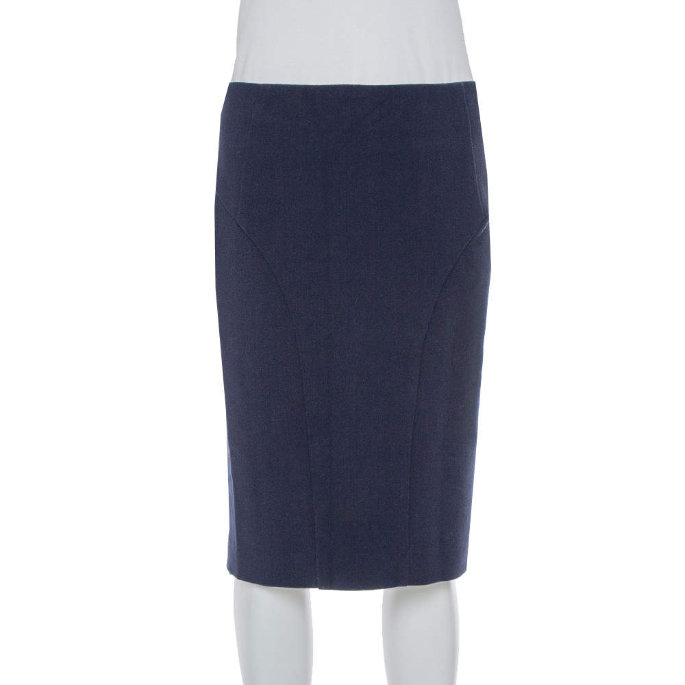 Emporio Armani Navy Blue Crepe Pencil Skirt S