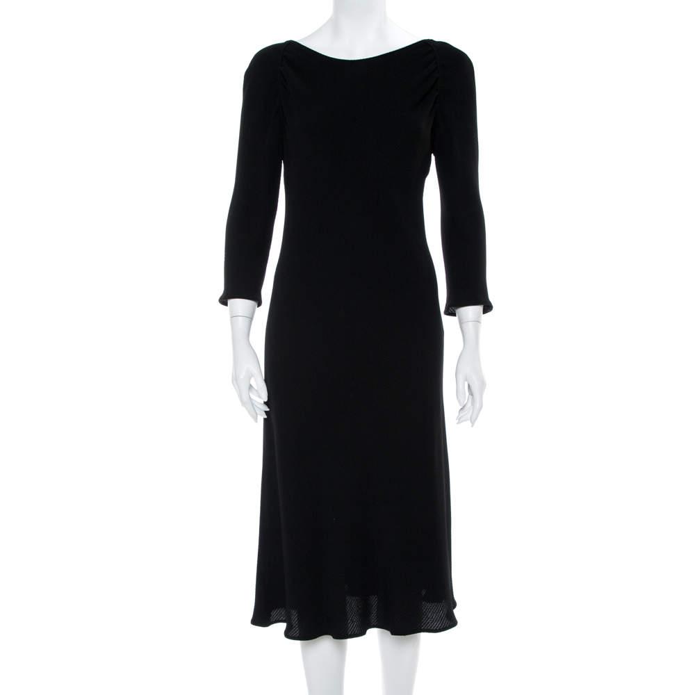 Emporio Armani Black Textured Crepe Midi Dress L