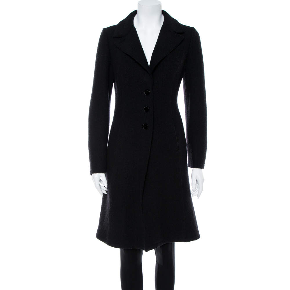 Emporio Armani Black Wool Button Front Knee Length Coat M
