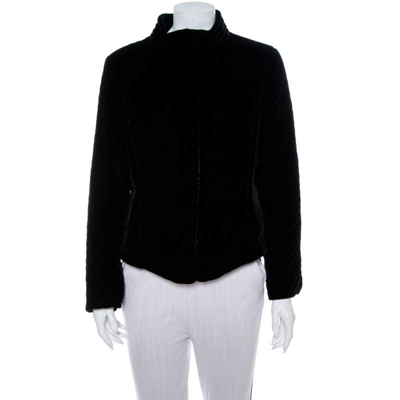 Emporio Armani Black Velvet Quilt Detail Stand Collar Jacket L