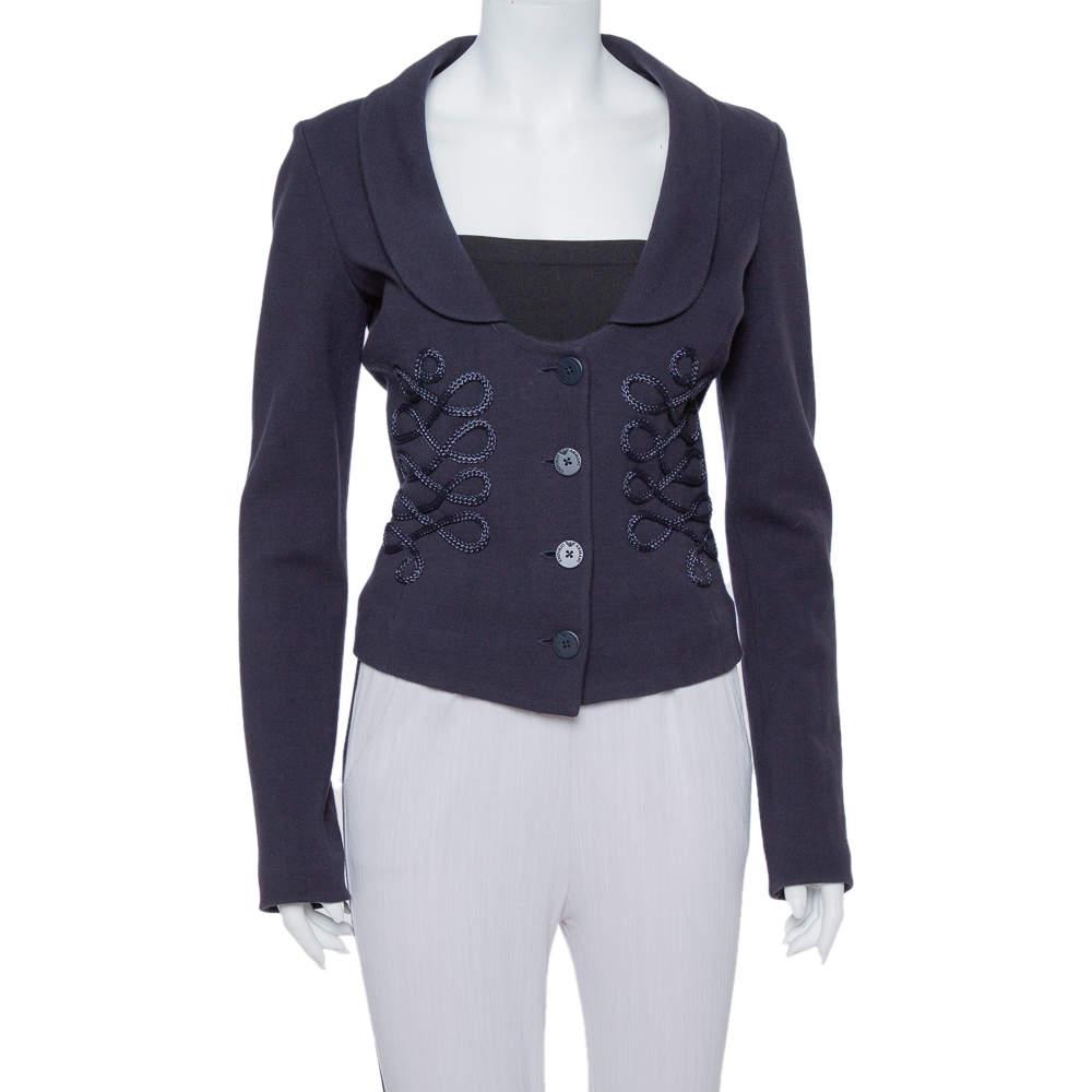 Emporio Armani Navy Blue Cotton Knit Trim Detail Collared Jacket M