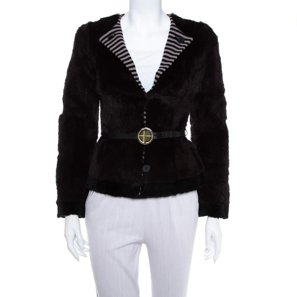 Emporio Armani Brown Fur Belted Button Front Blazer S