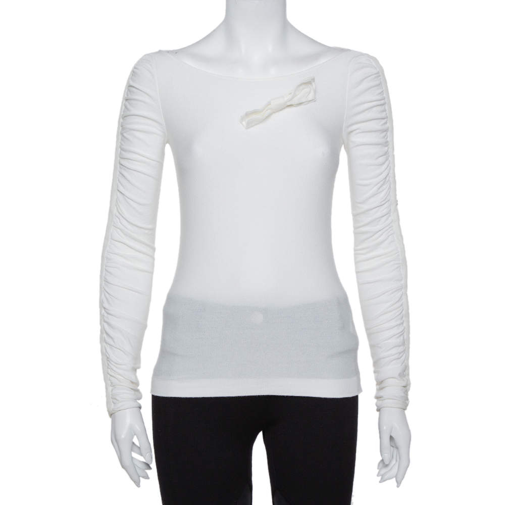 Emporio Armani White Knit Bow Detail Ruched Sleeve Top M