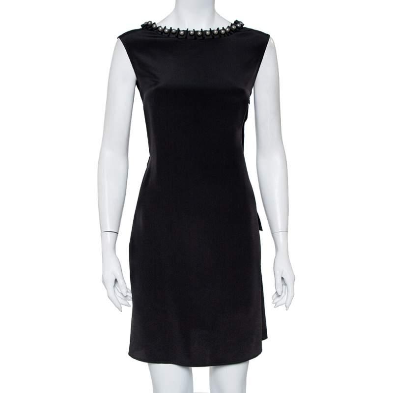 Emporio Armani Black Silk Embellished Neck Detail Shift Dress M
