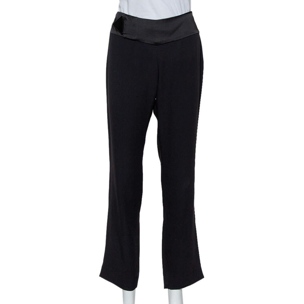 Emporio Armani Black Crepe Tapered Leg Trousers S
