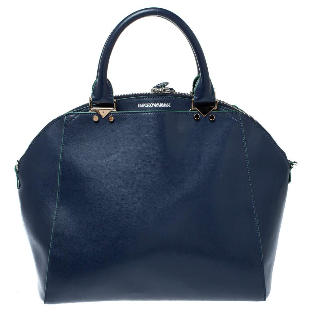 Emporio Armani Blue Leather Dome Satchel
