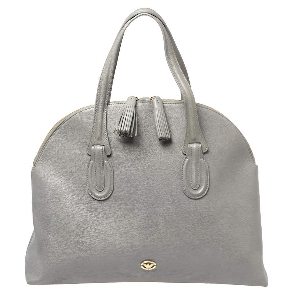 Emporio Armani Grey Leather Dome Satchel