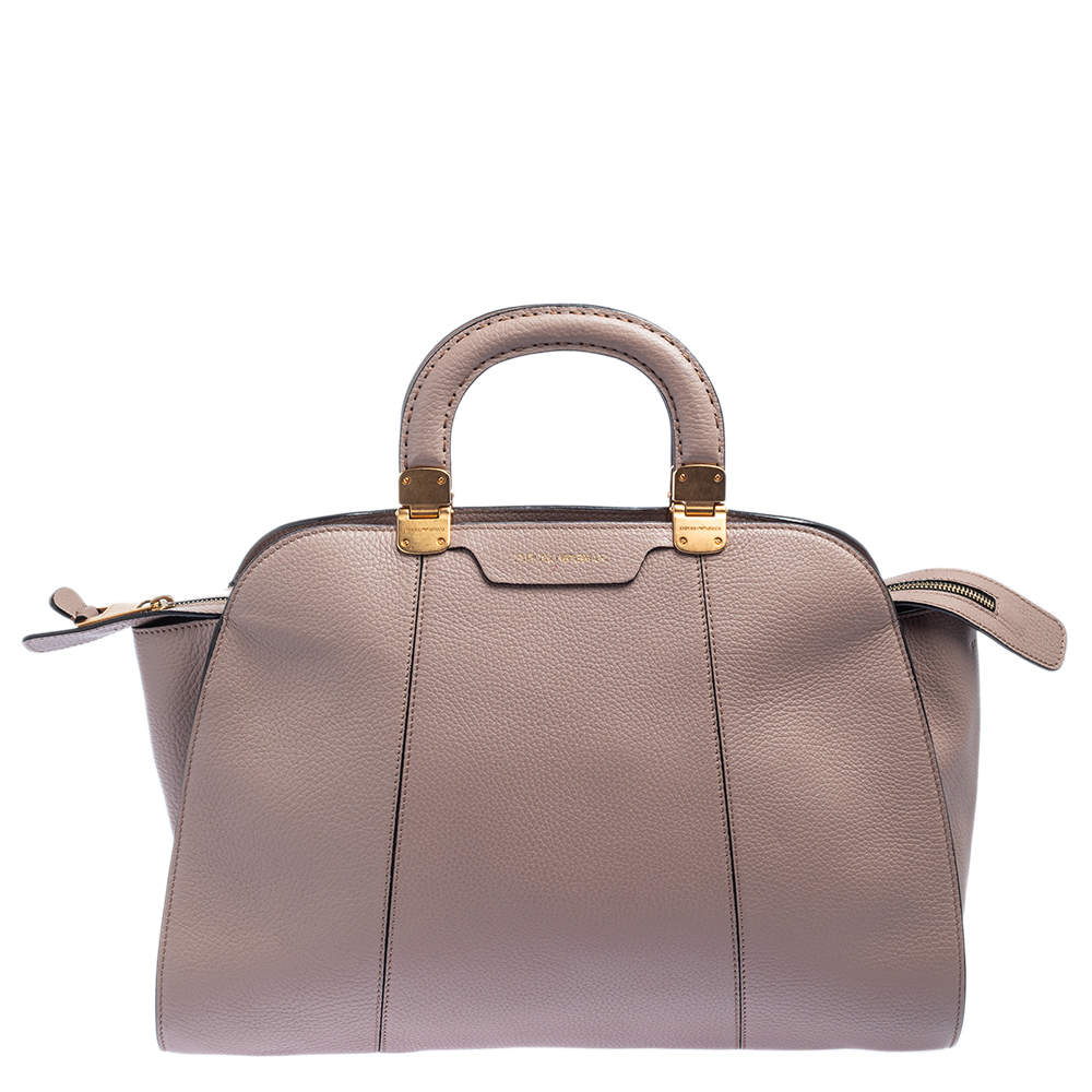 Emporio Armani Old Rose Grained Leather Zip Satchel