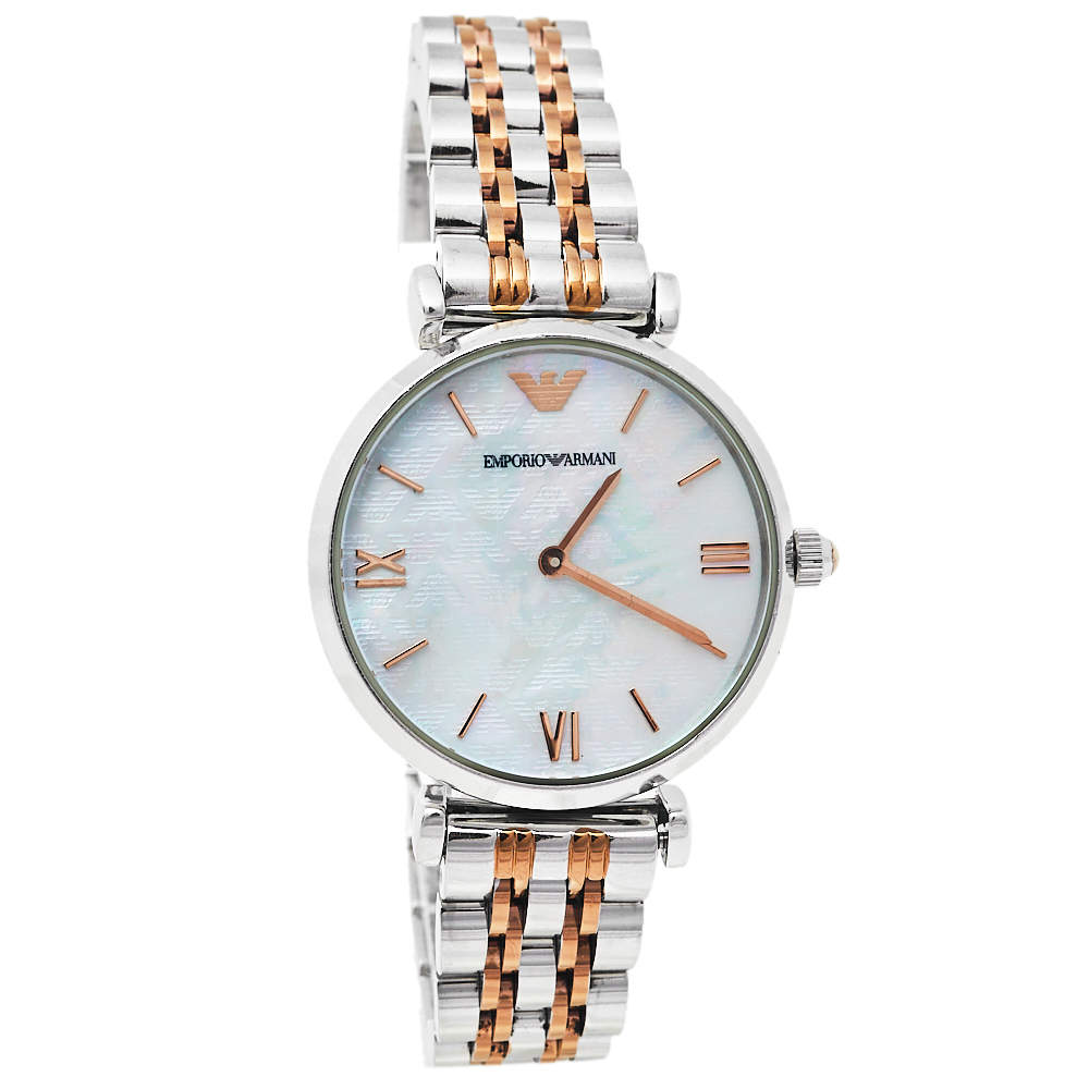 Emporio Armani Mother Of Pearl Two-Tone Stainless Steel Retro AR1987 Women's Wristwatch 32 mm