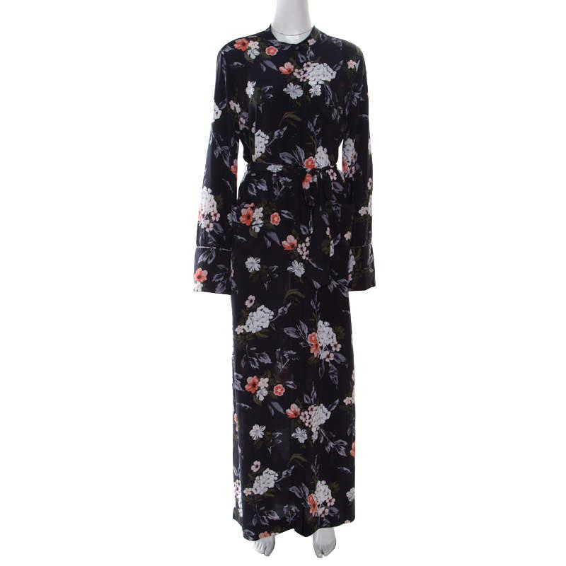 Equipment Britten Navy Blue Floral Printed Silk Belted Maxi Dress L