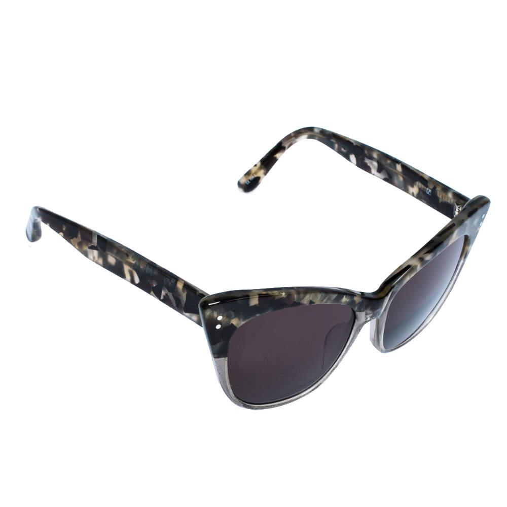 Erdem x Linda Farrow Marble & Grey Glitter / Brown 22 C3 Cat Eye Sunglasses