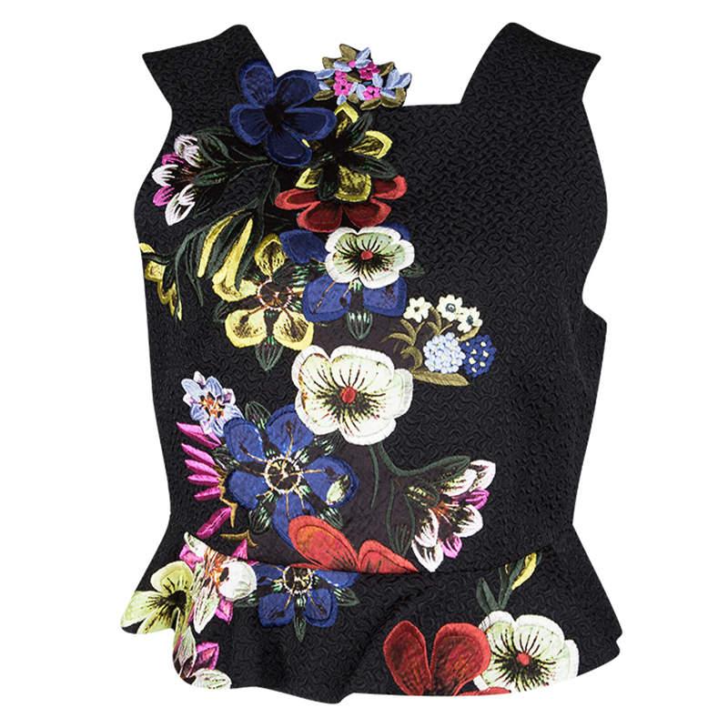 Erdem Black Jacquard Floral Applique Frankie Cropped Peplum Top M