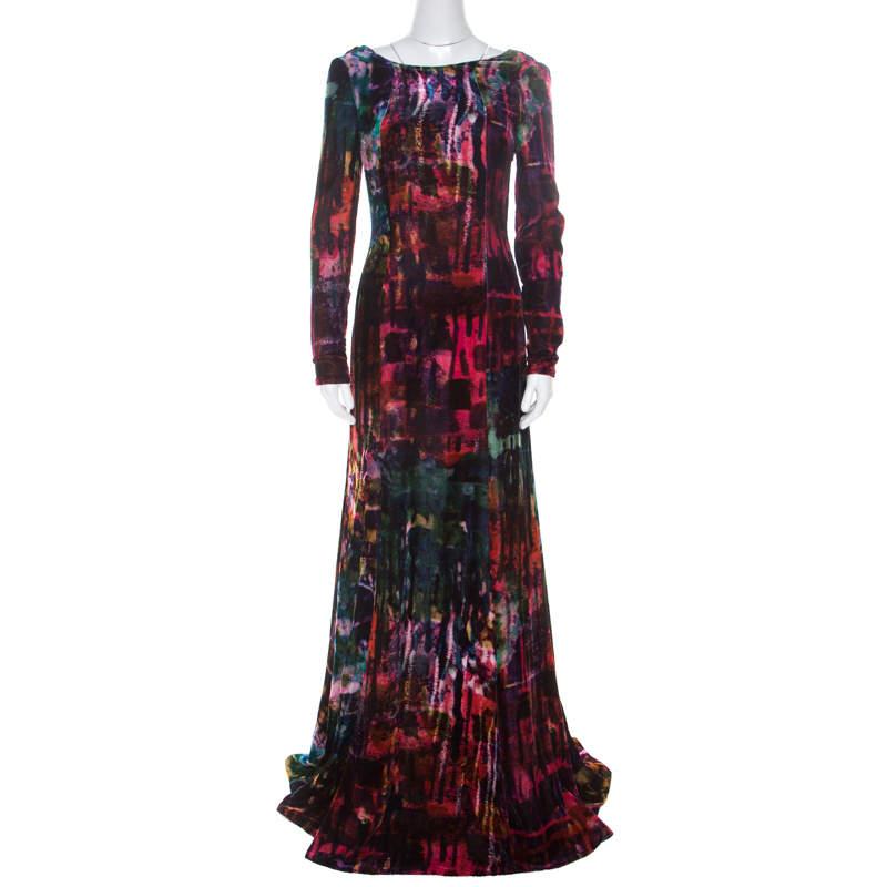 Erdem Multicolor Printed Velvet Slit Detail Daniella Gown S