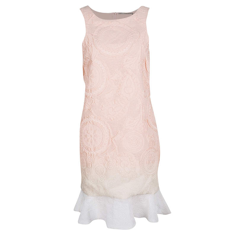 Ermanno Scervino Peach Ombre Embossed Jacquard Ruffled Bottom Sleeveless Dress M