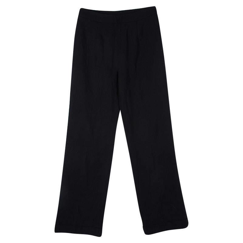 Ermanno Scervino Black Cotton Knit High Waist Trousers S