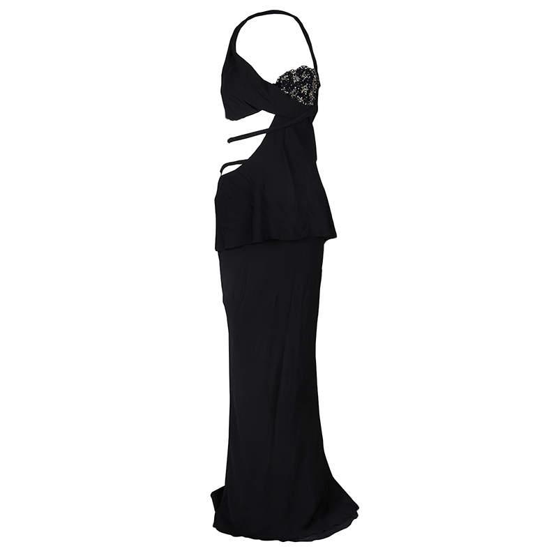 Ermanno Scervino Black Embellished Cutout Detail Backless Halter Gown M