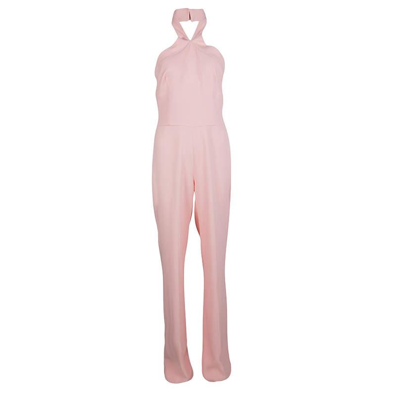 Ermanno Scervino Pink Cross Strap Halter Neck Jumpsuit M