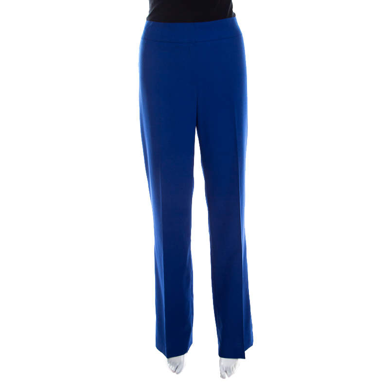 Escada Cobalt Blue Textured Wool and Silk High Waist Tanja Trousers M