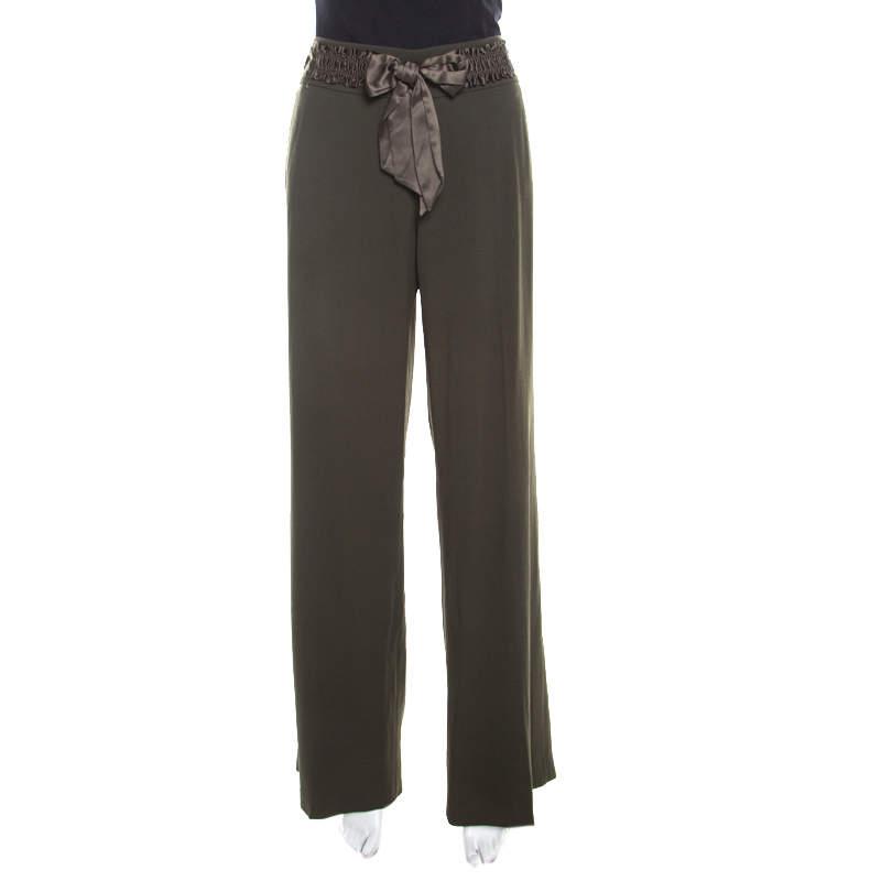 Escada Military Green Wool Crepe Satin Waist Tie Detail Wide Leg Pants L
