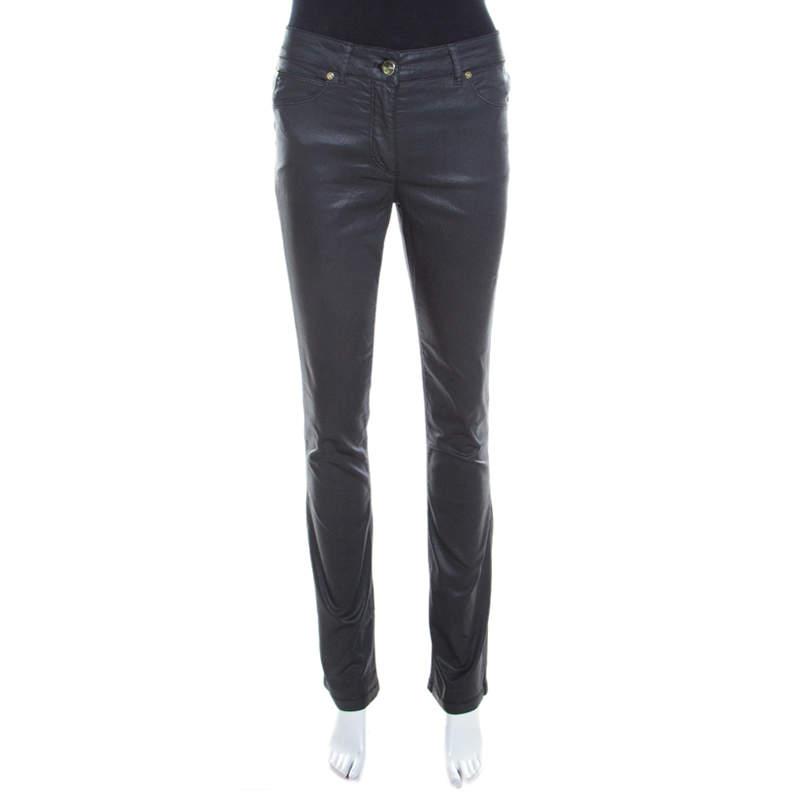 Escada Grey Coated Stretch Denim Straight Leg Jeans M