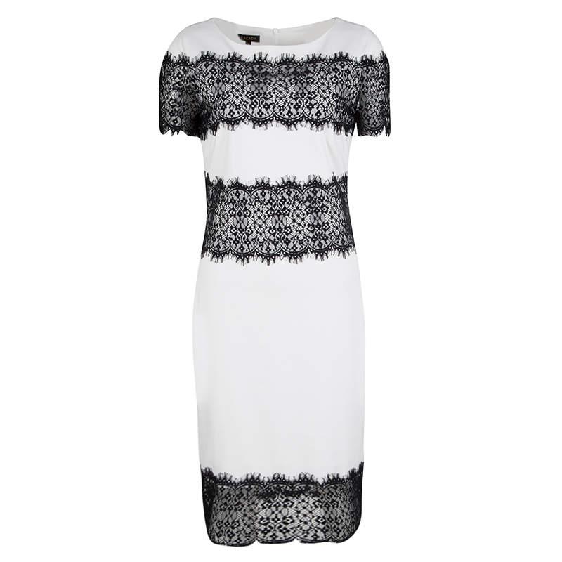 Escada Monochrome Scallop Lace Panel Detail Short Sleeve Dress XS