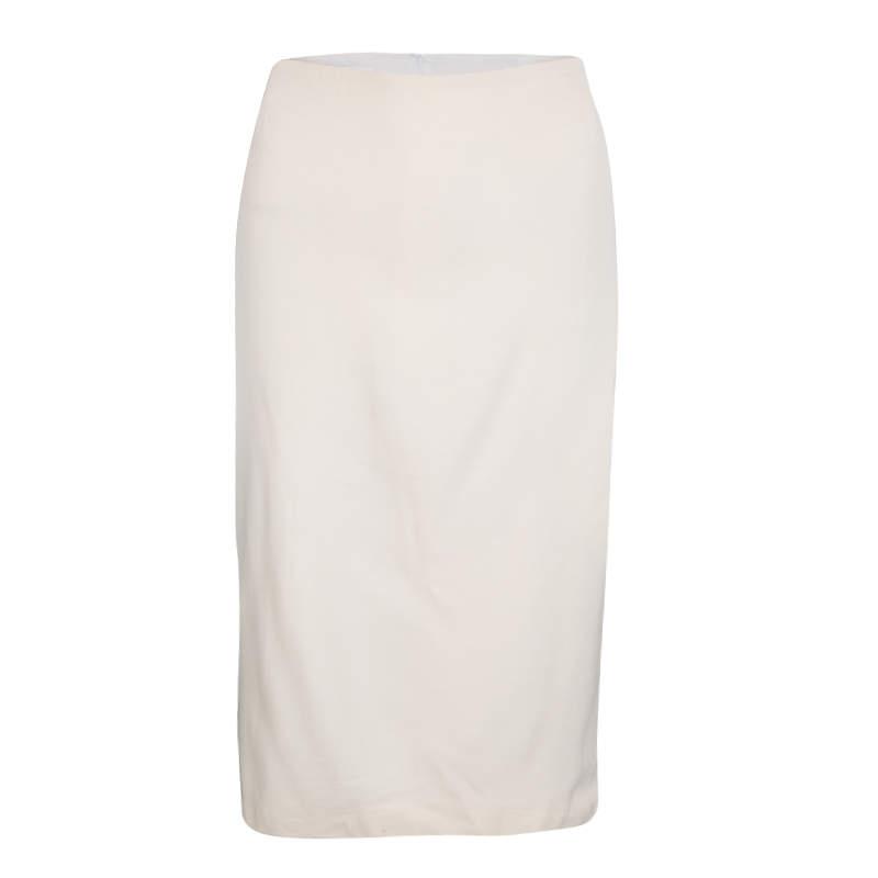 Escada Cream Wool Pencil Skirt M