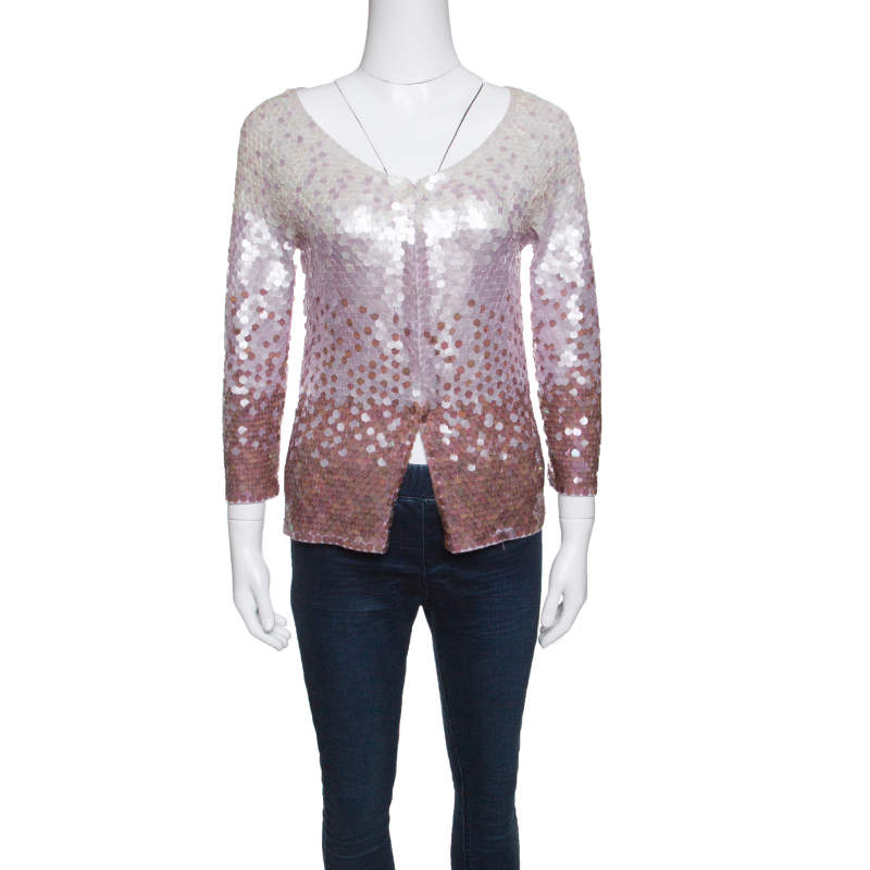 Escada Multicolor Ombre Sequined Wool Cardigan M