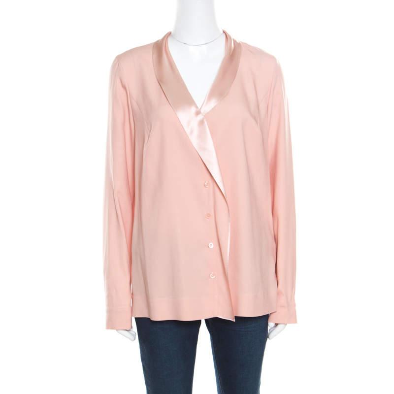 Escada Gloss Pink Silk Shawl Collar Nanaka Button Down Blouse L