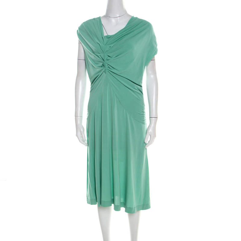 Escada Aqua Green Knit Ruched Draped Front Sleeveless Dress L
