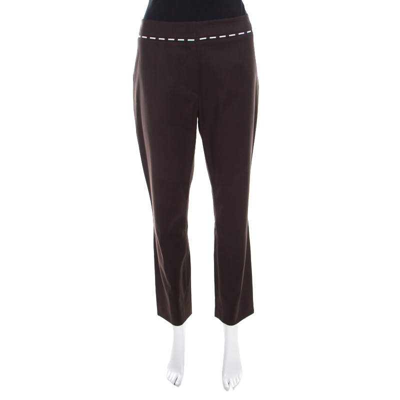 Escada Mocca Brown Stretch Cotton Embroidered Waist Detail Cropped Pants L